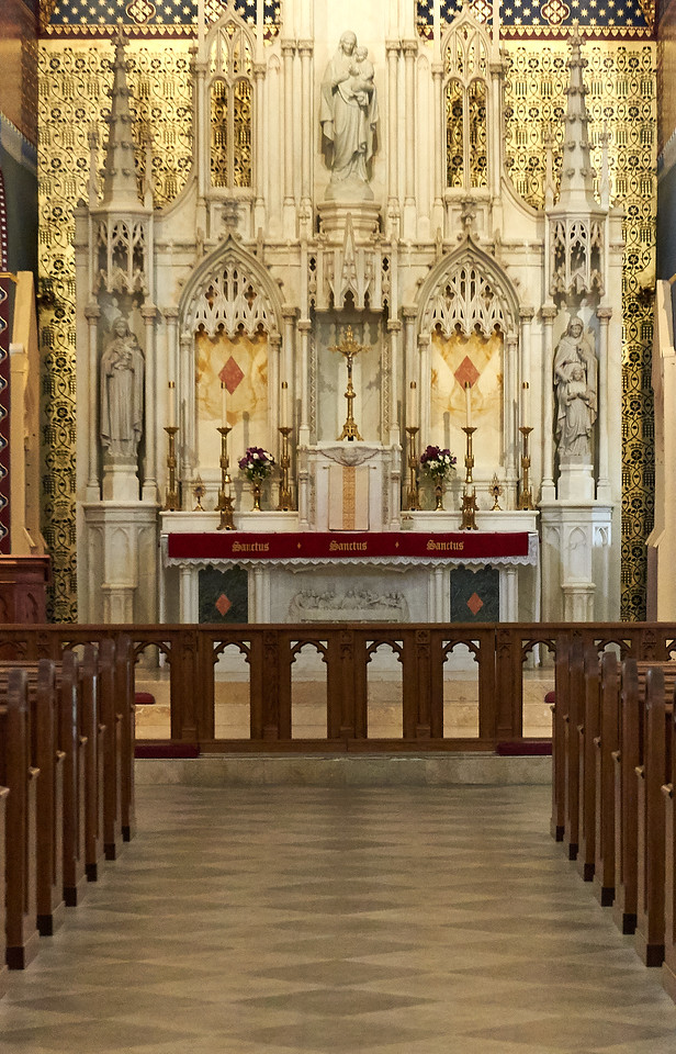 Close up of altar inside the church